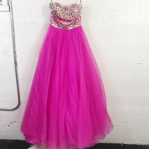 Night Moves Pink Beaded Strapless Sweetheart Prom